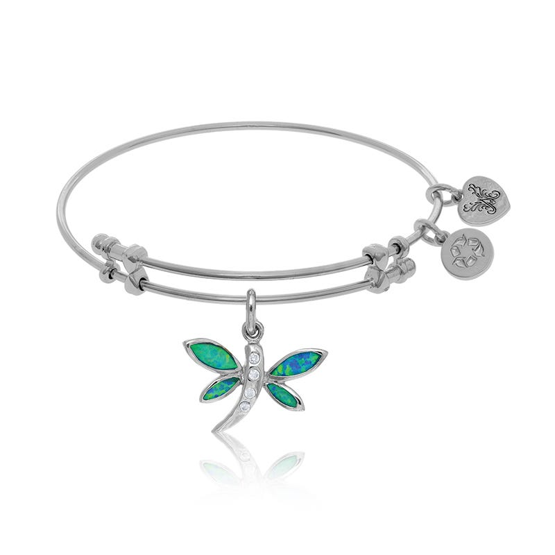 Created Opal & Crystal Dragonfly Charm Bangle Bracelet in White Brass