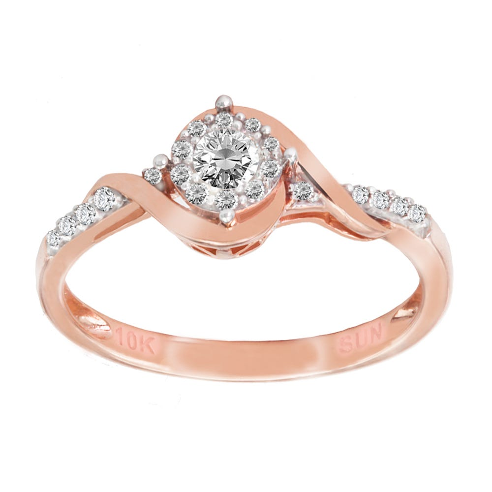 Round Diamond 1/5ctw. Promise Ring in 10k Rose Gold