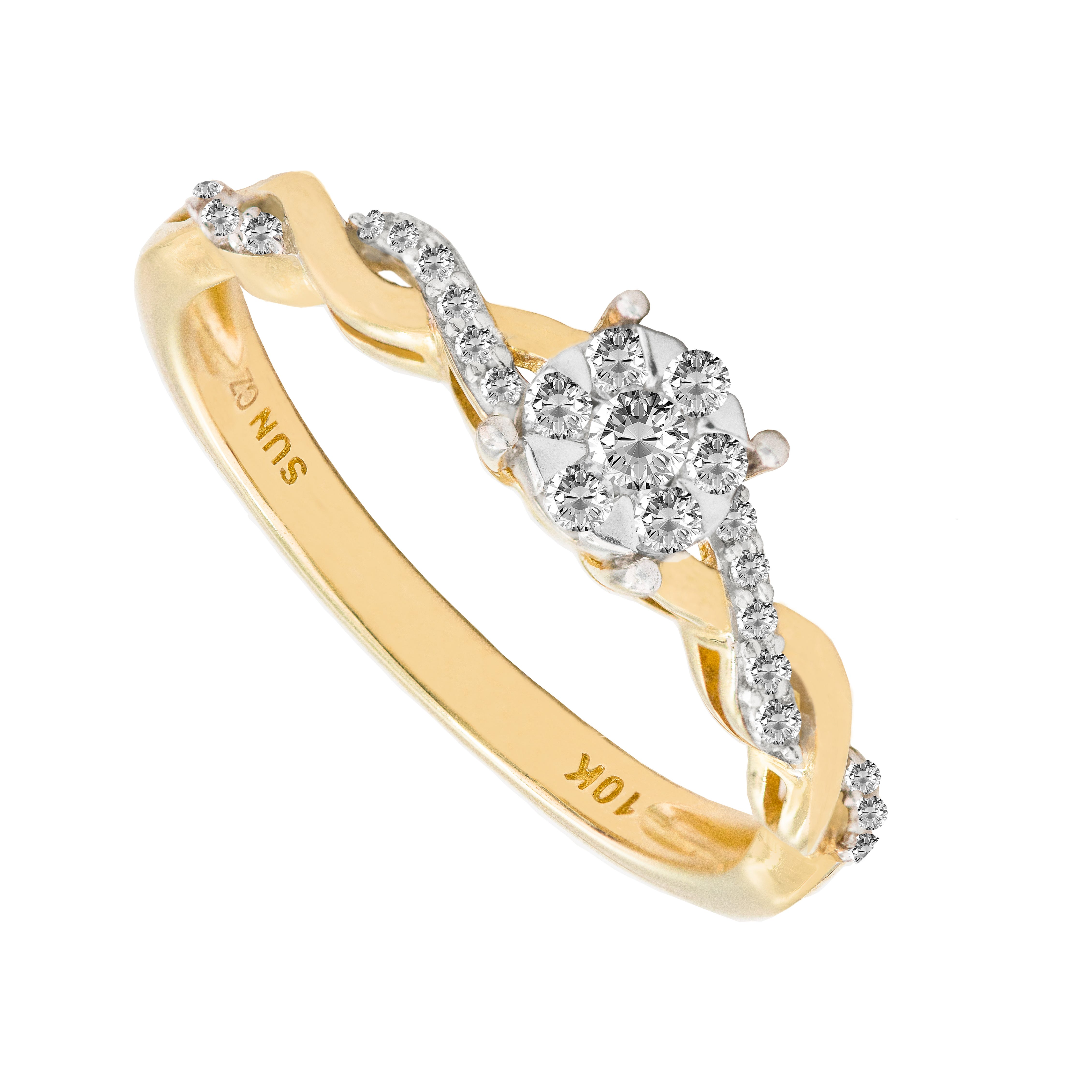ec4e90aa1d202 Round Diamond Twist Band Promise Ring in 10k Yellow Gold