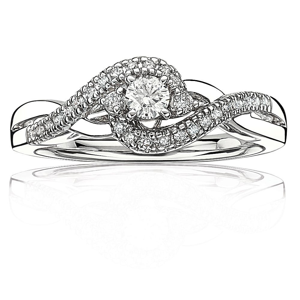 JK Crown® Brilliant-Cut 1/3ctw Promise Ring in 10k White Gold
