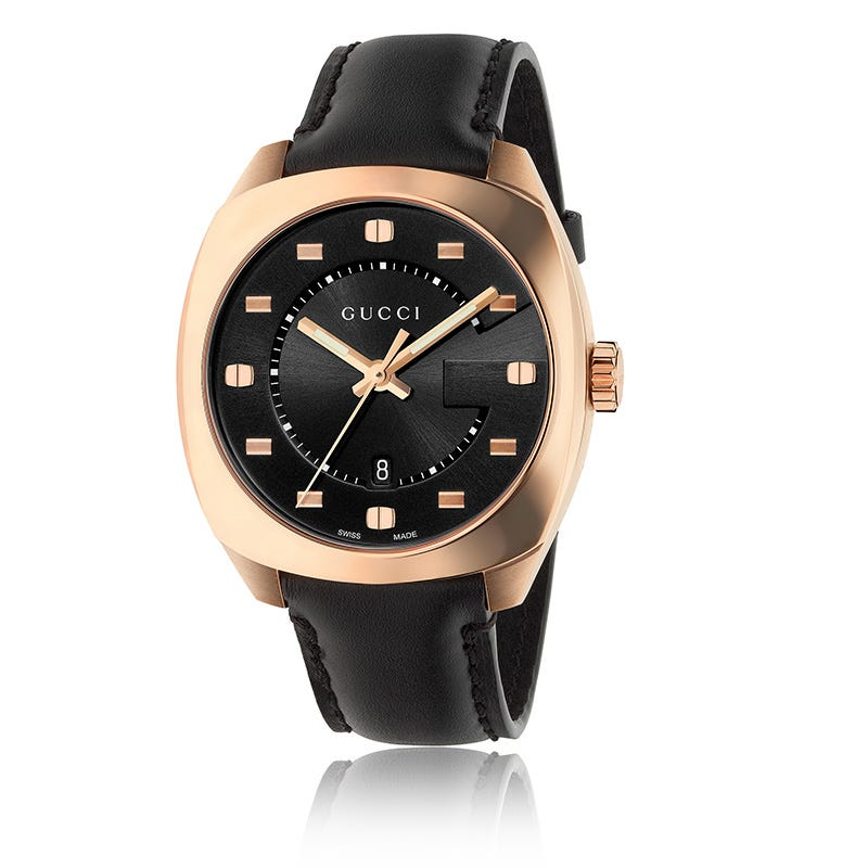 ffe23874 Gucci GG2570 Black Dial and Leather Strap Watch YA142309