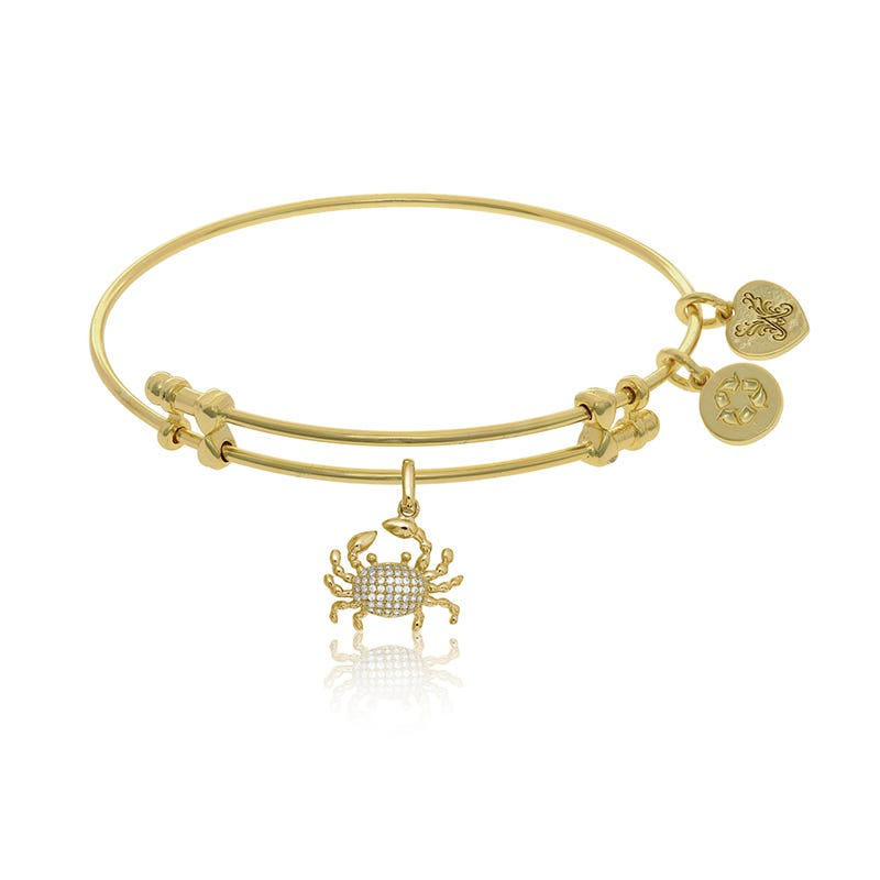 Crab Crystal Charm Bangle Bracelet in Yellow Brass