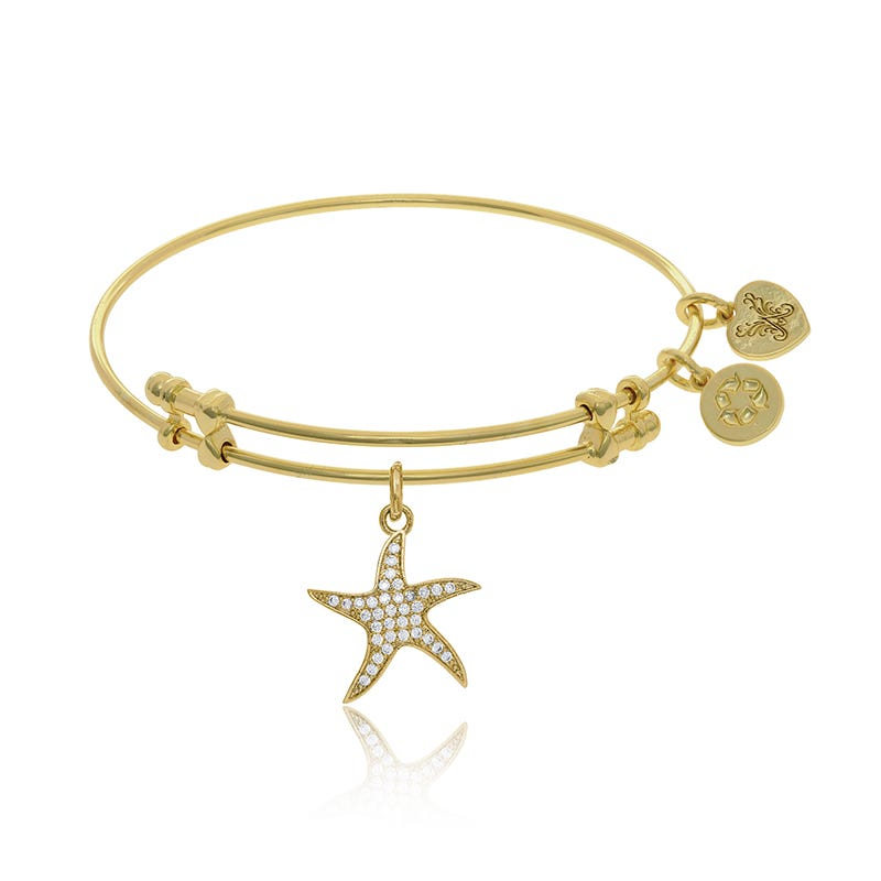 Starfish Crystal Charm Bangle Bracelet in Yellow Brass