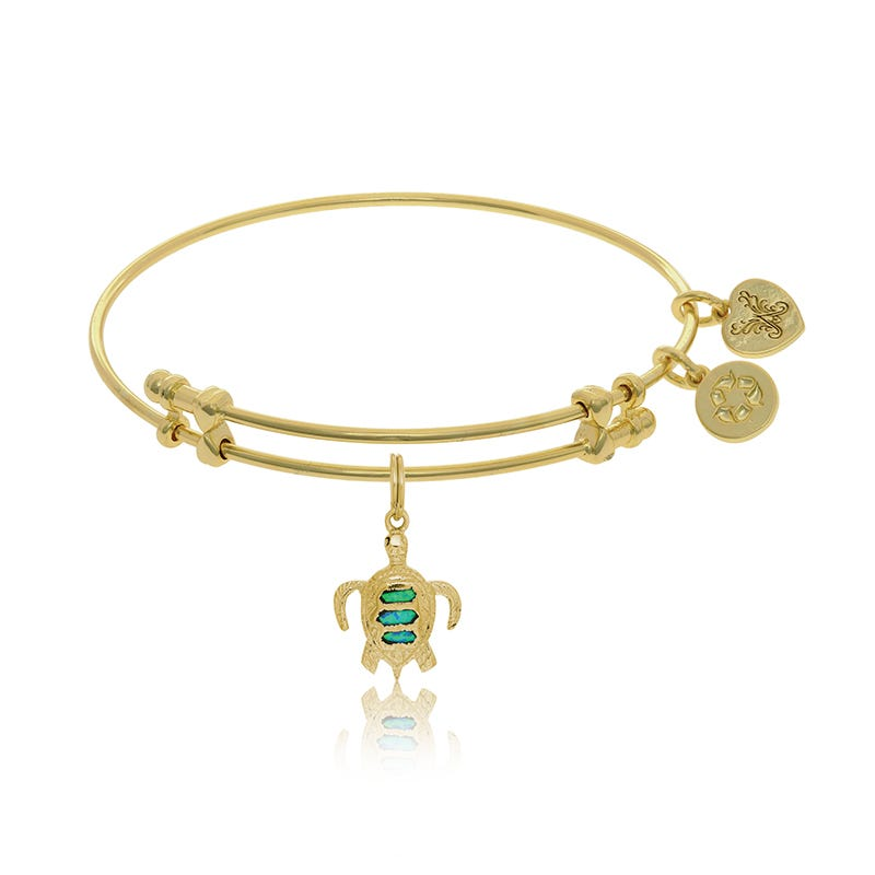 Created Opal Turtle Charm Bangle Bracelet in Yellow Brass