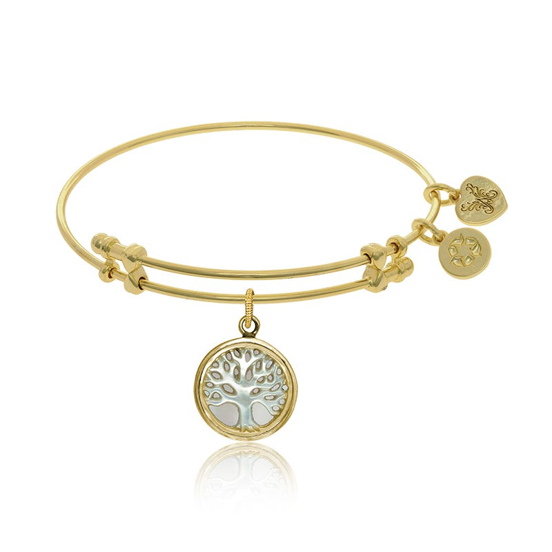 Tree of Life Mother-of-Pearl Charm Bangle Bracelet in Yellow Brass