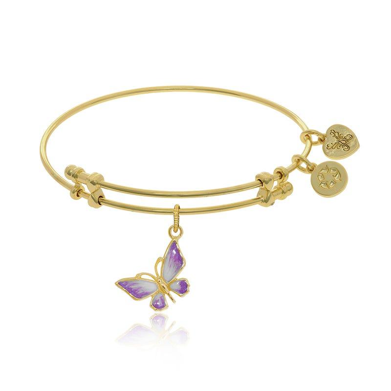 Purple & White Enamel Butterfly Charm Bangle Bracelet in Yellow Brass
