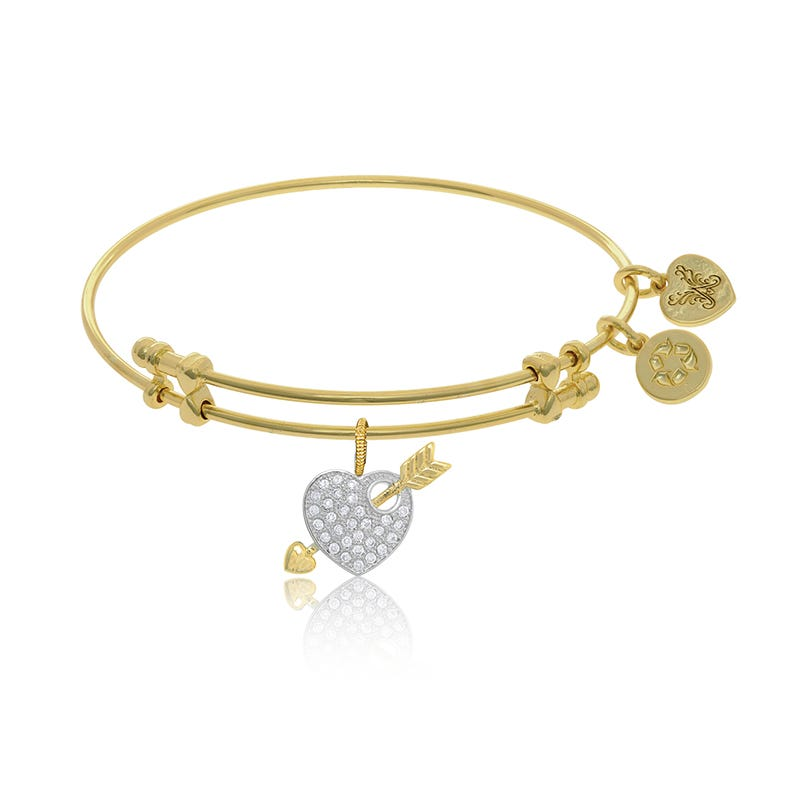 Heart & Arrow Crystal Charm Bangle Bracelet in Yellow Brass