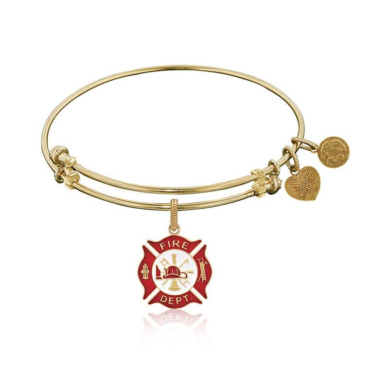 Firefighter Charm Bangle Bracelet in Yellow Brass