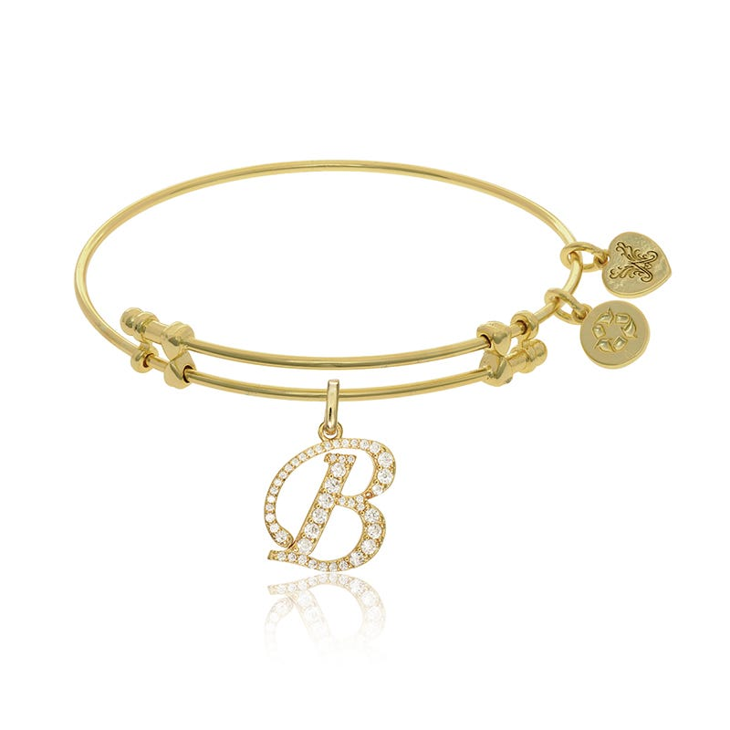 Initial B Crystal Charm Bangle Bracelet in Yellow Brass