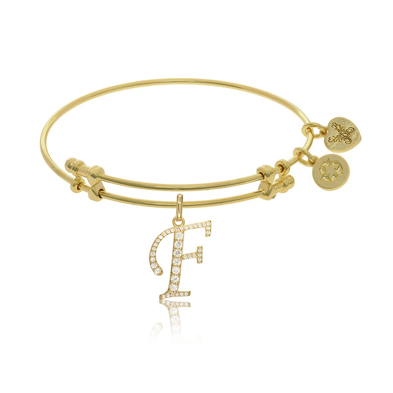 Initial F Crystal Charm Bangle Bracelet in Yellow Brass
