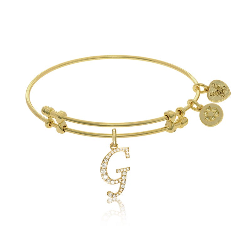 Initial G Crystal Charm Bangle Bracelet in Yellow Brass
