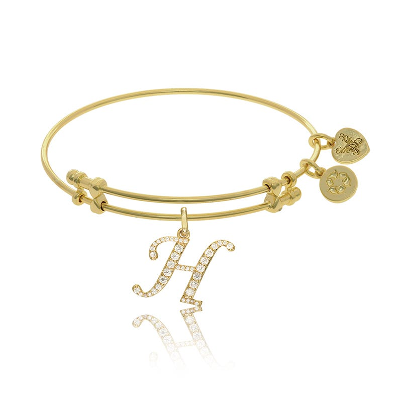 Initial H Crystal Charm Bangle Bracelet in Yellow Brass