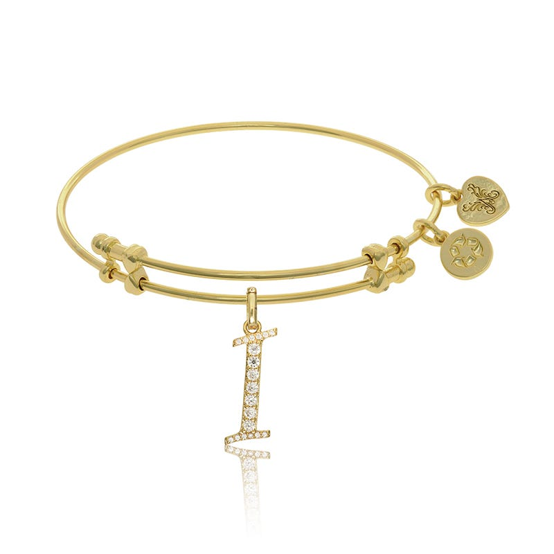 Initial I Crystal Charm Bangle Bracelet in Yellow Brass