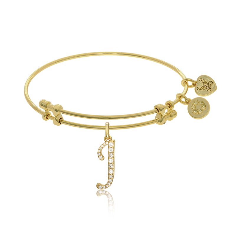 Initial J Crystal Charm Bangle Bracelet in Yellow Brass