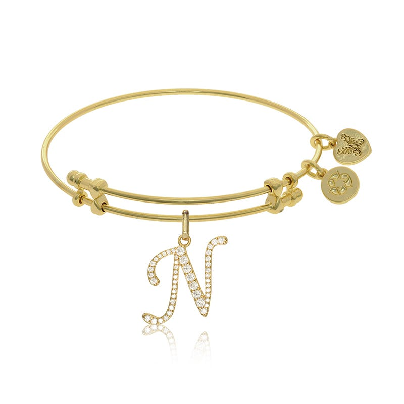 Initial N Crystal Charm Bangle Bracelet in Yellow Brass