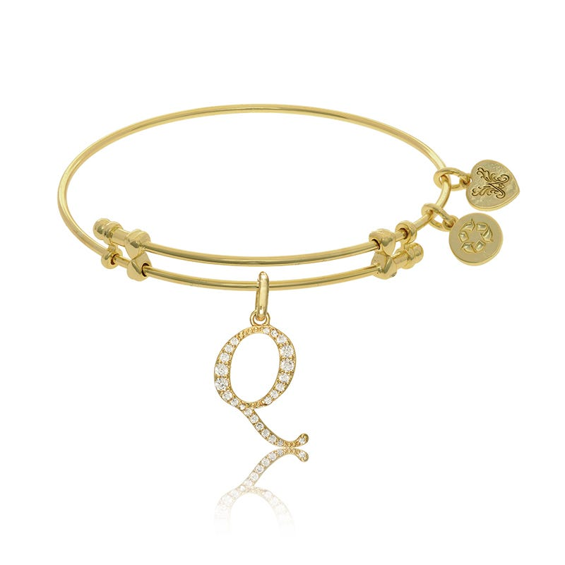 Initial Q Crystal Charm Bangle Bracelet in Yellow Brass