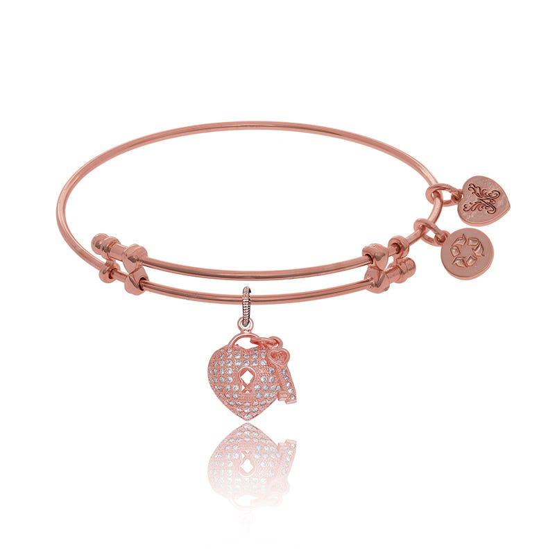Heart & Key Crystal Charm Bangle Bracelet in Pink Brass