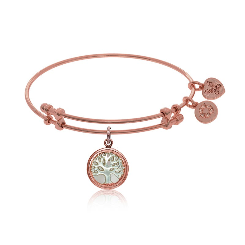 Tree of Life Mother-of-Pearl Charm Bangle Bracelet in Pink Brass