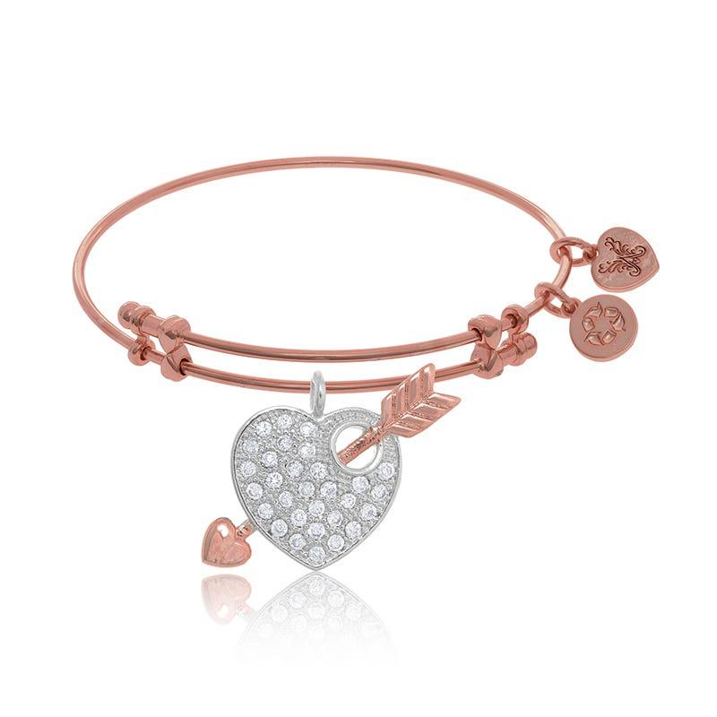 Heart & Arrow Crystal Charm Bangle Bracelet in Pink Brass