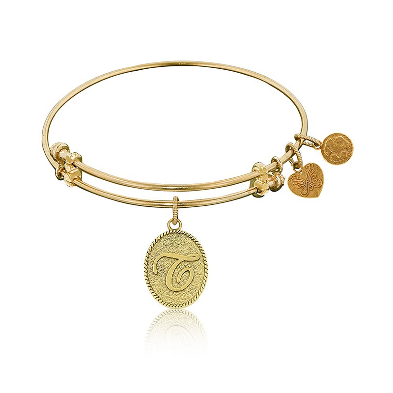 Initial T Charm Bangle Bracelet in Yellow Brass