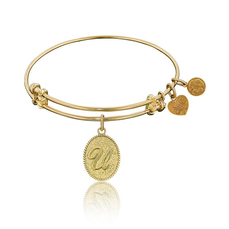 Initial U Charm Bangle Bracelet in Yellow Brass