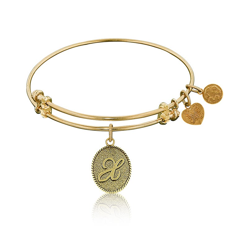 Initial X Charm Bangle Bracelet in Yellow Brass