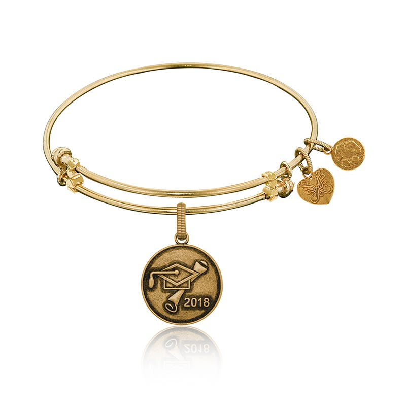 2018 Grad Charm Bangle Bracelet in Yellow Brass