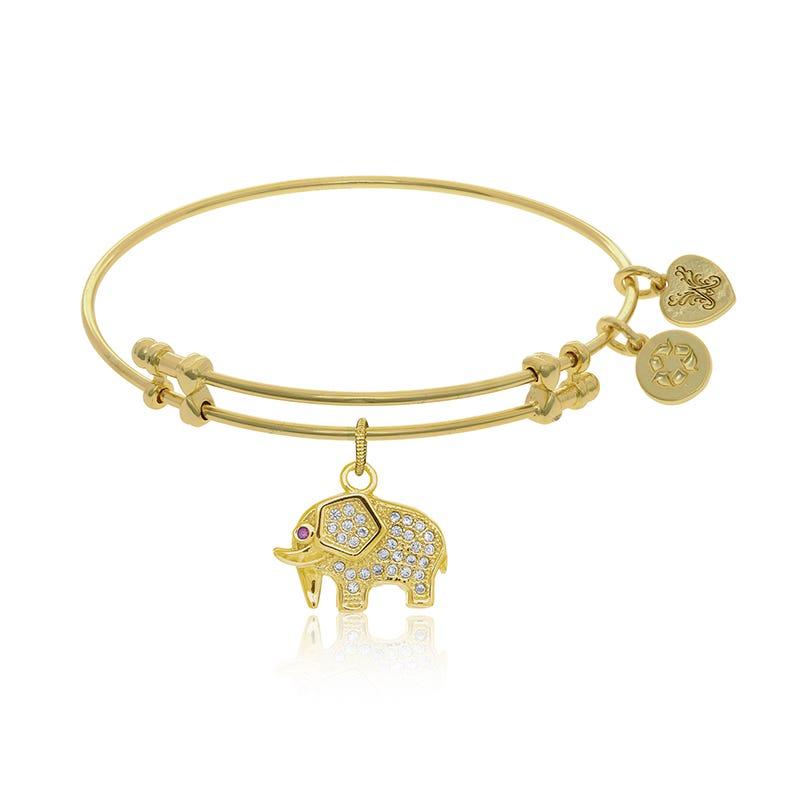 Elephant Crystal Charm Bangle Bracelet in Yellow Brass