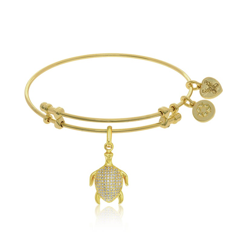 Turtle Crystal Charm Bangle Bracelet in Yellow Brass