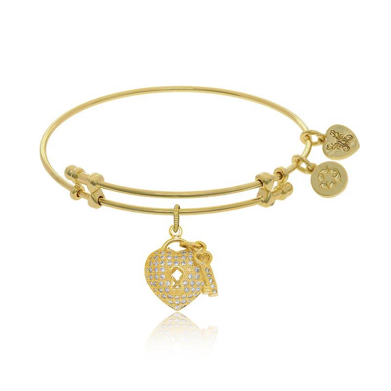Heart & Key Crystal Charm Bangle Bracelet in Yellow Brass