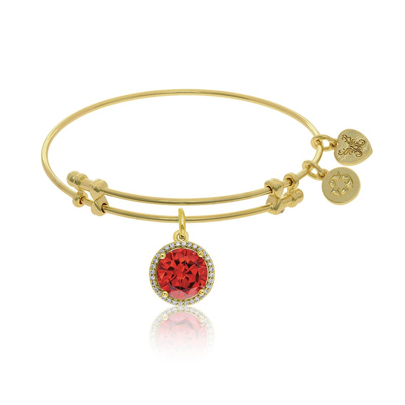 January Birthstone Crystal Charm Bangle Bracelet in Yellow Brass