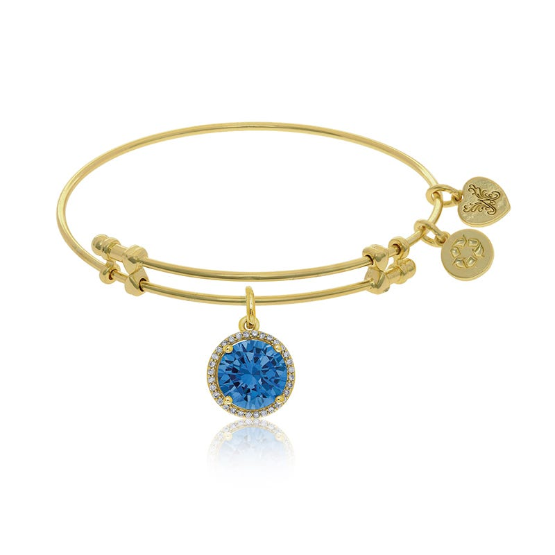 March Birthstone Halo Crystal Charm Bangle Bracelet in Yellow Brass
