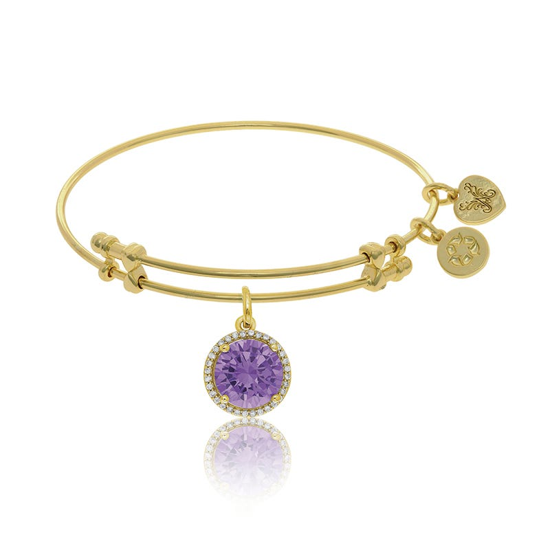 June Birthstone Crystal Charm Bangle Bracelet in Yellow Brass