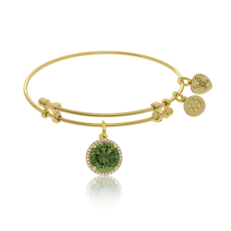 August Birthstone Crystal Charm Bangle Bracelet in Yellow Brass