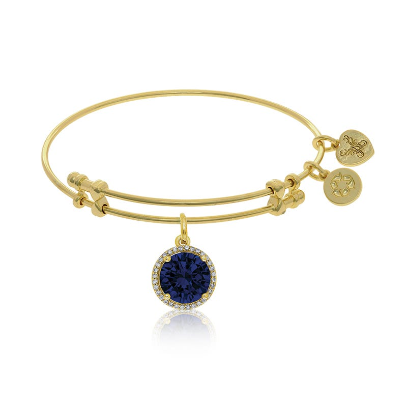 September Birthstone Halo Crystal Charm Bangle Bracelet in Yellow Brass