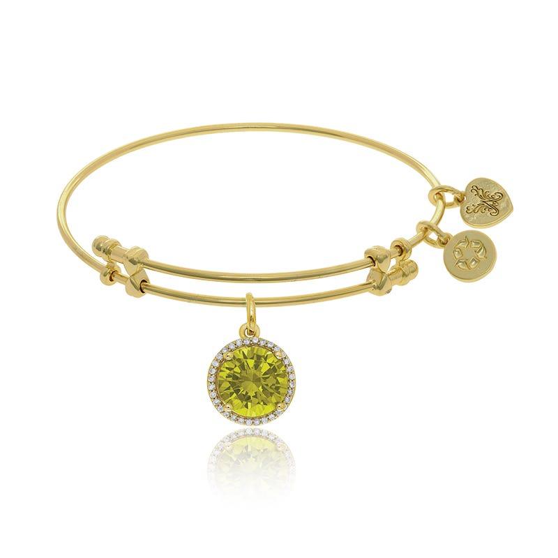 November Birthstone Crystal Charm Bangle Bracelet in Yellow Brass