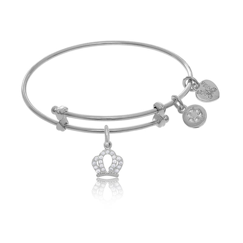 Crown Crystal Tween Charm Bangle Bracelet in White Brass