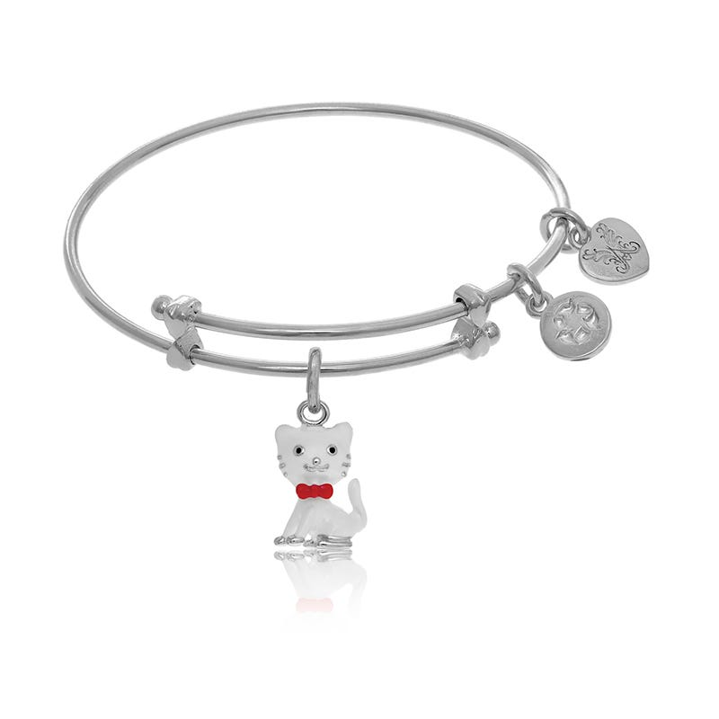 Cat Tween Charm Bangle Bracelet in White Brass