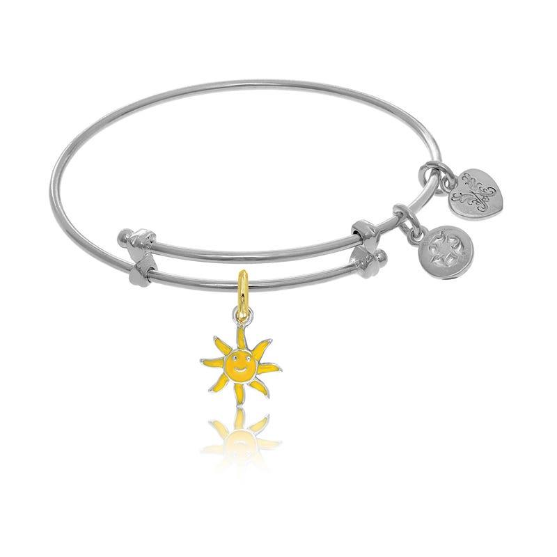 Sun Tween Charm Bangle Bracelet in White Brass