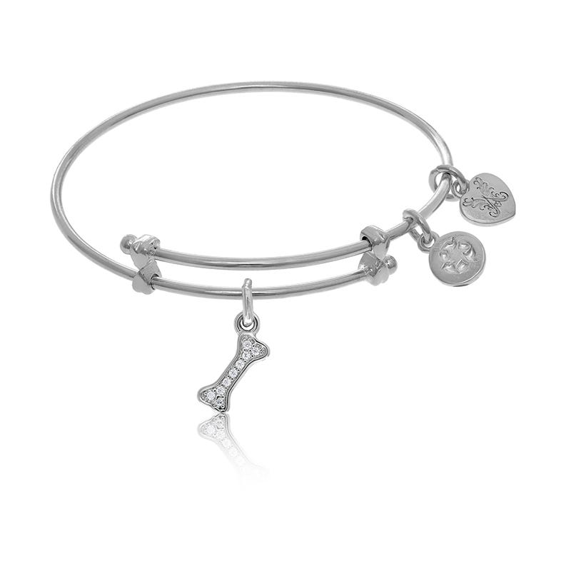 Dog Bone Crystal Tween Charm Bangle Bracelet in White Brass