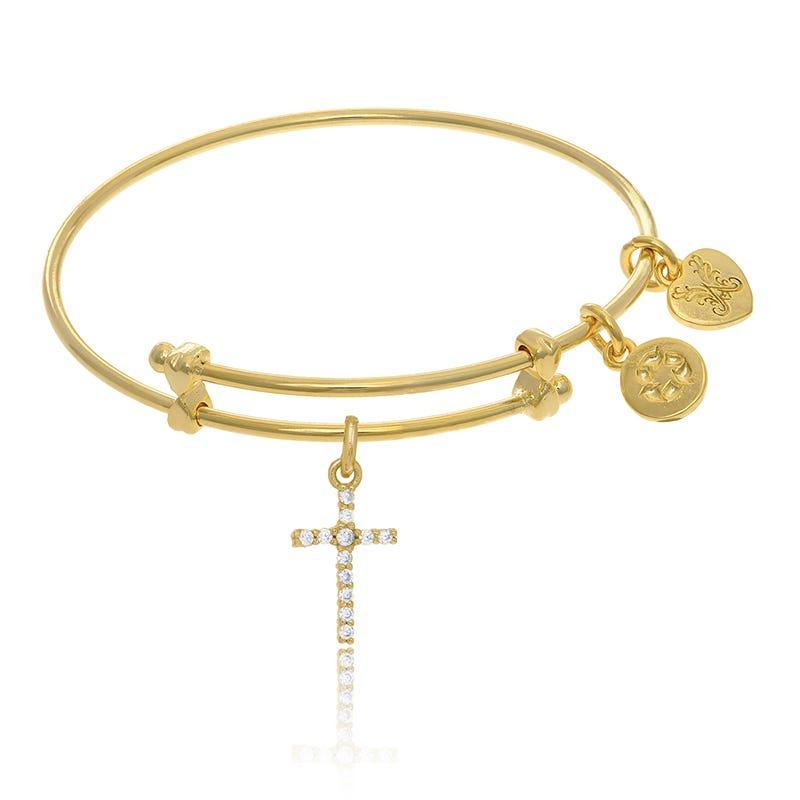 Cross Crystal Tween Charm Bangle Bracelet in Yellow Brass