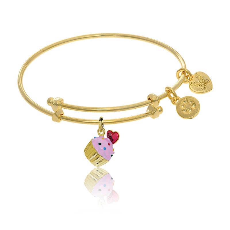 Cupcake Tween Charm Bangle Bracelet in Yellow Brass