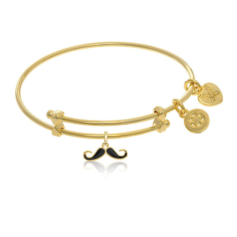 Mustache Tween Charm Bangle Bracelet in Yellow Brass