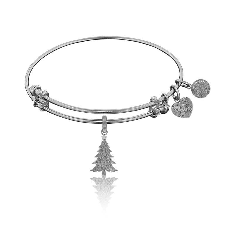 Christmas Tree Charm Bangle Bracelet in White Brass