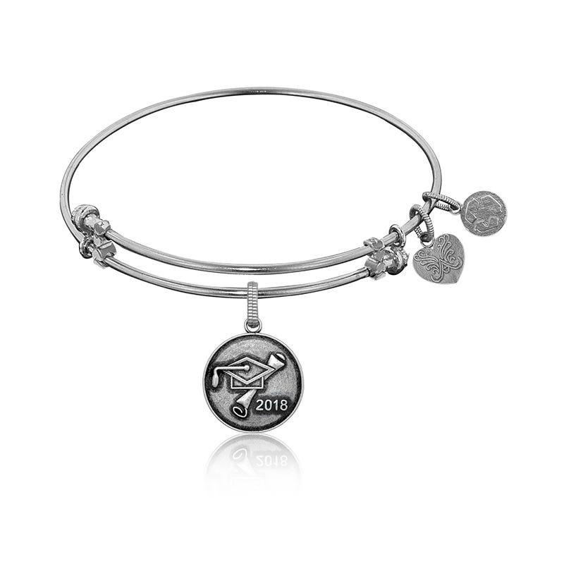 2018 Grad Charm Bangle Bracelet in White Brass
