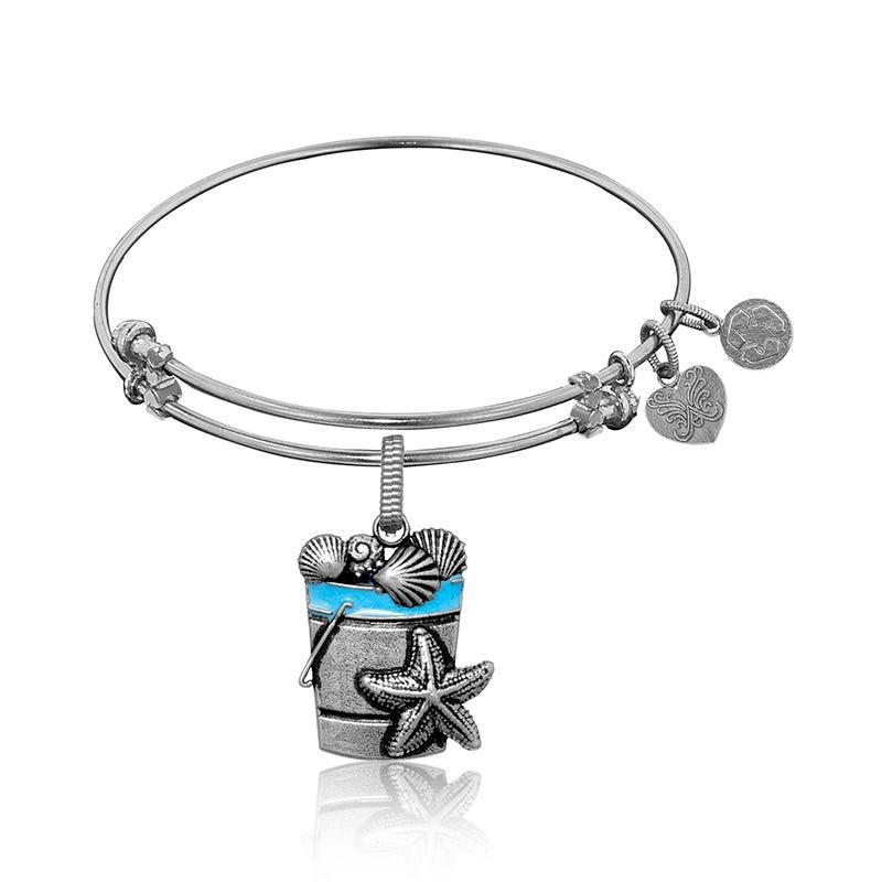 Beach Bucket Charm Bangle Bracelet in White Brass