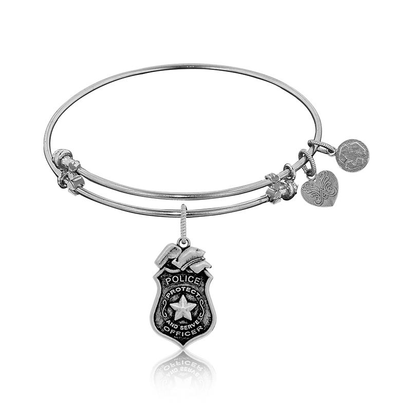 Police Badge Charm Bangle Bracelet in White Brass