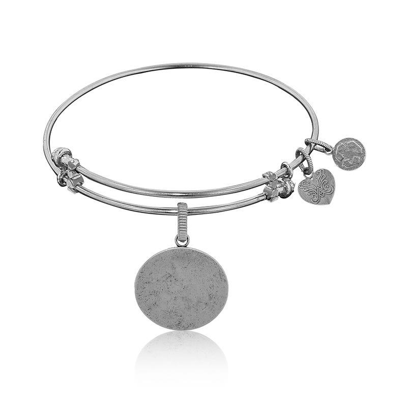 Oval Engravable Charm Bangle Bracelet in White Brass
