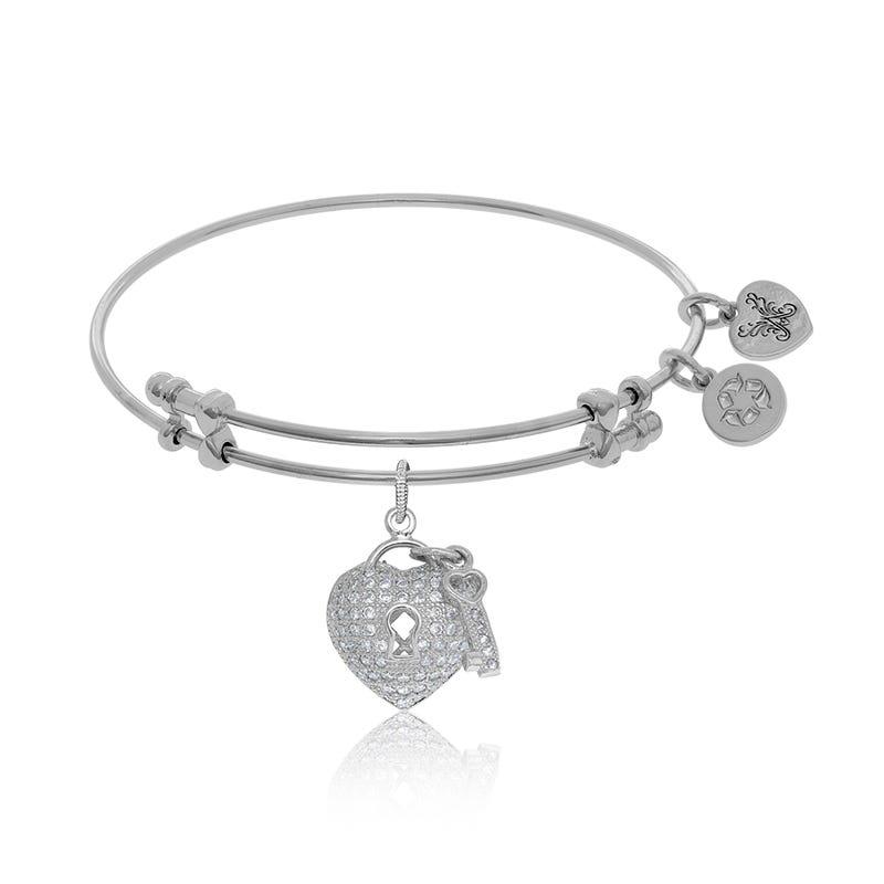 Heart & Key Crystal Charm Bangle Bracelet in White Brass