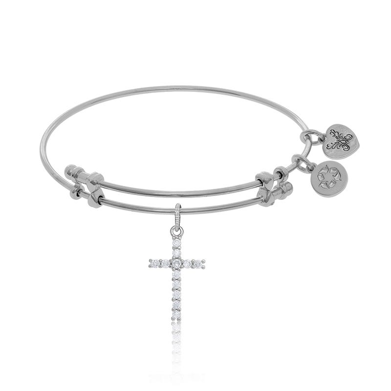 Cross Crystal Charm Bangle Bracelet in White Brass
